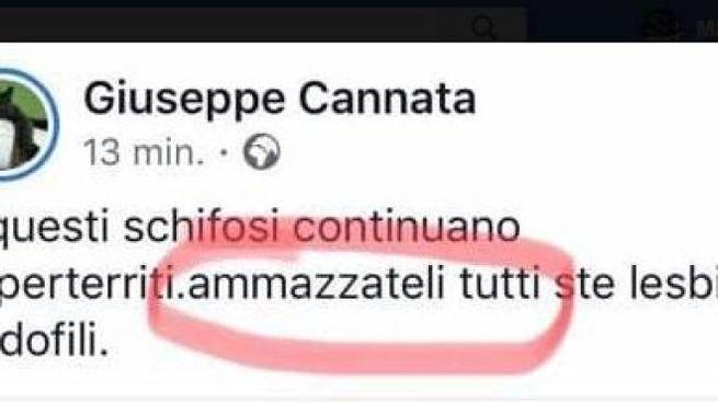 Il post di Giuseppe Cannata fotografato da Arcigay Rainbow Vercelli Valsesia