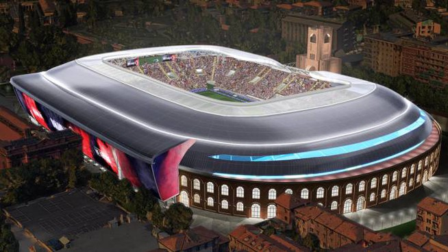 Rendering notturno del 'nuovo' stadio Dall'Ara firmato dall'architetto Gino Zavanella