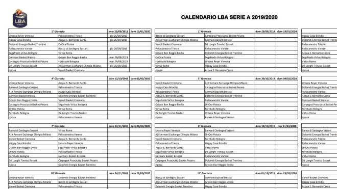 Mondiali Volley Maschile 2020 Calendario.Calendario Serie A Basket 2019 20 Il Tabellone Completo In