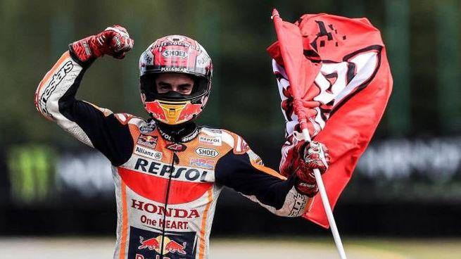 MotoGp Brno, l'esultanza di Marc Marquez (foto Ansa)
