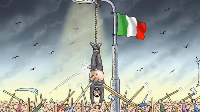 salvini appeso a testa in giù: vignetta choc dalla germania.