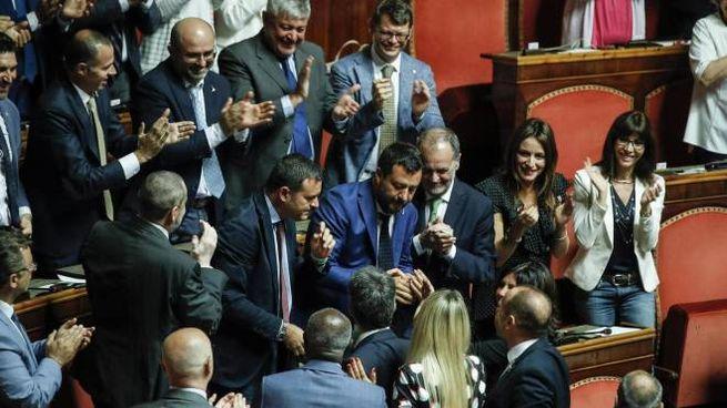 Il gruppo della Lega in Senato applaude Salvini (Ansa)