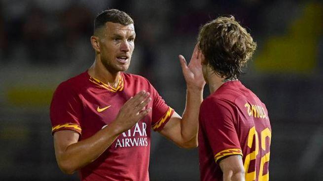 Dzeko in gol contro l'Arezzo