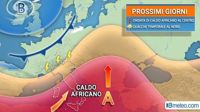 Le previsioni meteo per la settimana: caldo e temporali (grafica 3bmeteo)