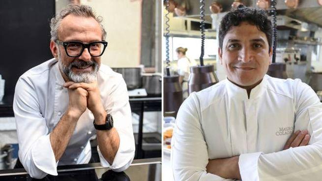 Gli chef Bottura e Colagreco - Foto: LaPresse - Claudio Furlan / Valery Hache/AFP