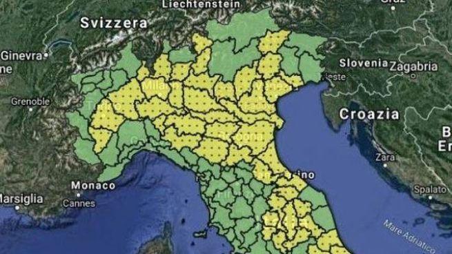 La mappa dell'allerta della Protezione civile nazionale