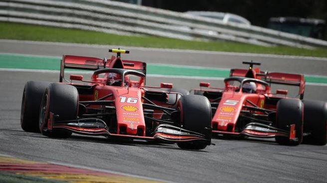 Le Ferrari di Vettel e Leclerc (Lapresse)