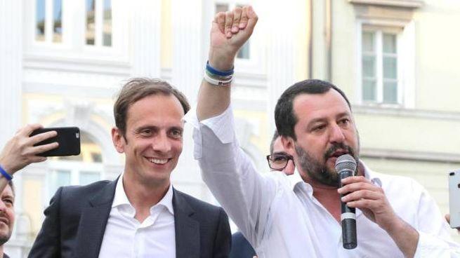 Matteo Salvini con Massimiliano Fedriga