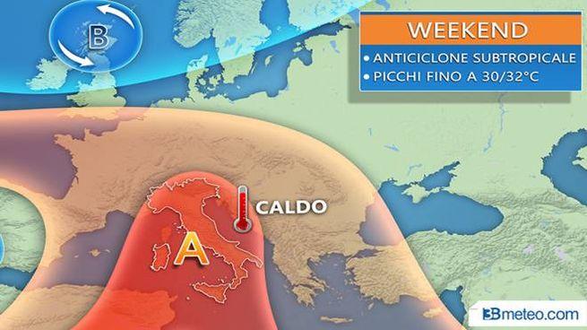 Le previsioni del tempo: caldo nel weekend, grafico 3bmeteo