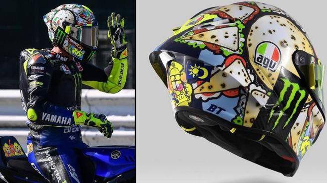 Valentino e il nuovo casco 'Menù Misano'