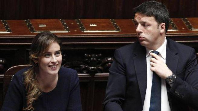 Matteo Renzi con Maria Elena Boschi (Ansa)
