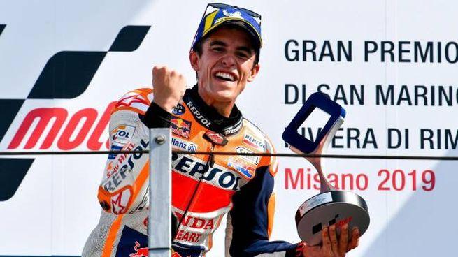 MotoGp, Marquez vince a Misano (foto Ansa)