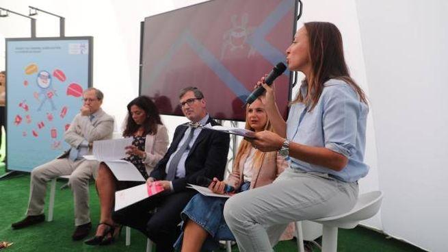 La conferenza stampa organizzata in occasione dell'evento Novartis Oltre la pelle, alla scoperta dei mille volti del melanoma. Milano 13 Settembre 2019.  ANSA / MATTEO BAZZI