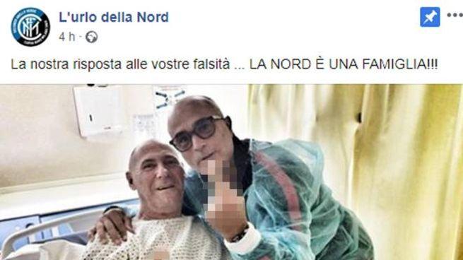 Lo scatto pubblicato sulla pagina facebook della Curva Nord