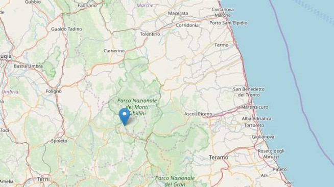Terremoto, oggi diverse scosse (fonte Ingv OpenStreetMap)
