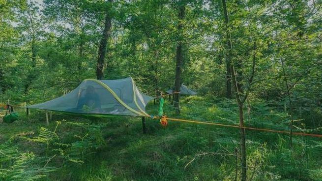 Le tende sospese tra gli alberi al Nido del Parco