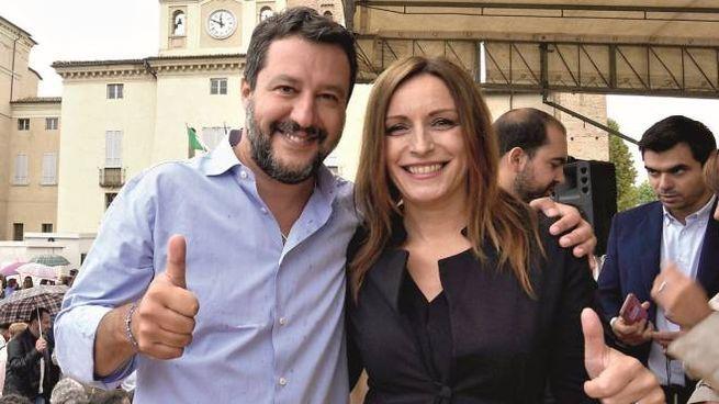 Matteo Salvini a Caorso a sostegno di Lucia Borgonzoni (LaPresse)