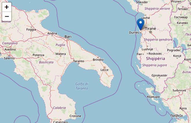 Cartina Puglia Albania.Terremoto In Albania Scossa Di Magnitudo 5 8 Avvertito Anche In Puglia Esteri Quotidiano Net