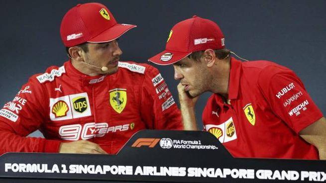 Ferrari, Charles Leclerc e Sebastian Vettel (foto Ansa)