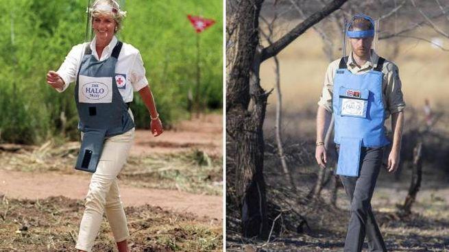 Lady Diana nel 1997 e il principe Harry oggi (Ansa)