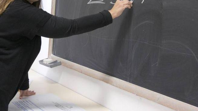 Una studentessa alla lavagna (Ansa)