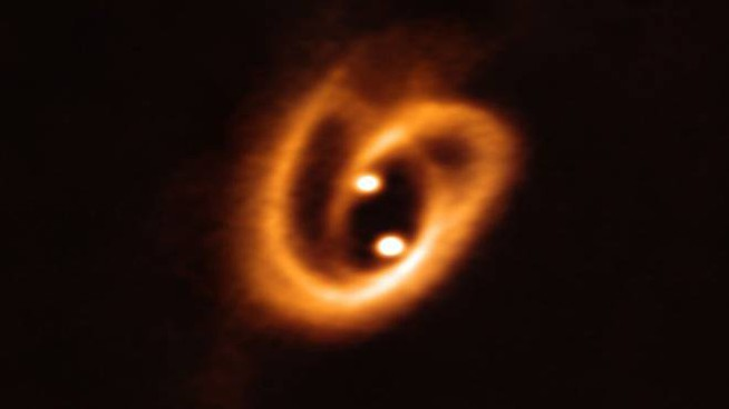 Il giovane sistema binario (Foto: ALMA (ESO/NAOJ/NRAO), Alves et al.)