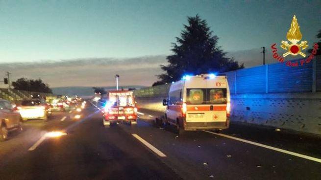 L'incidente sull'A8 fra Busto e Castellanza