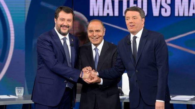 A Porta a Porta il confronto tra Renzi e Salvini (Imagoeconomica)