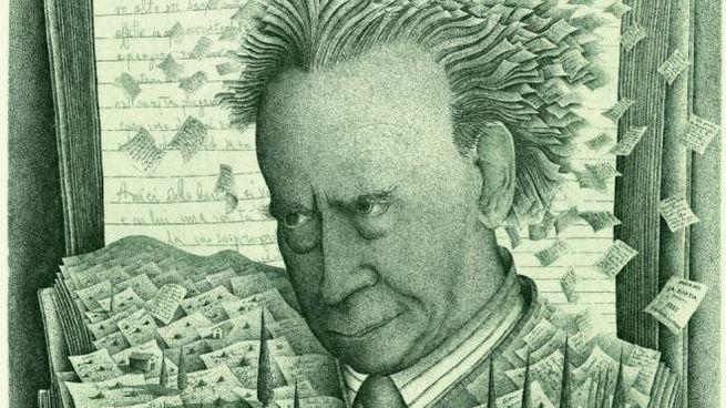 Mario Luzi in una incisione di Pietro Paolo Tarasco