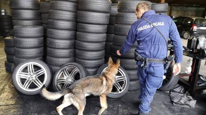 Gli agenti della polizia locale sul posto