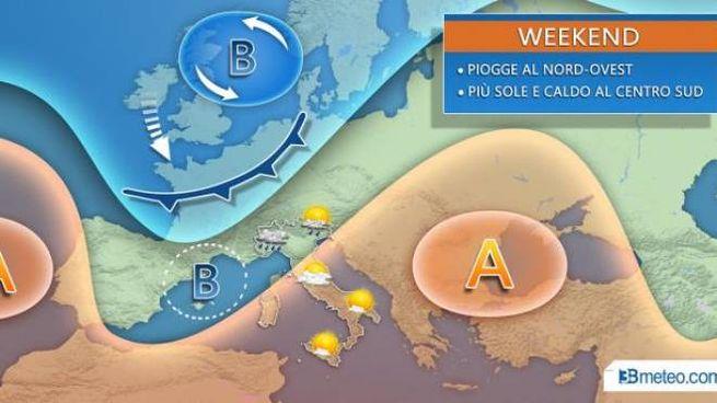 Meteo, Italia divisa in due (3bmeteo.com)