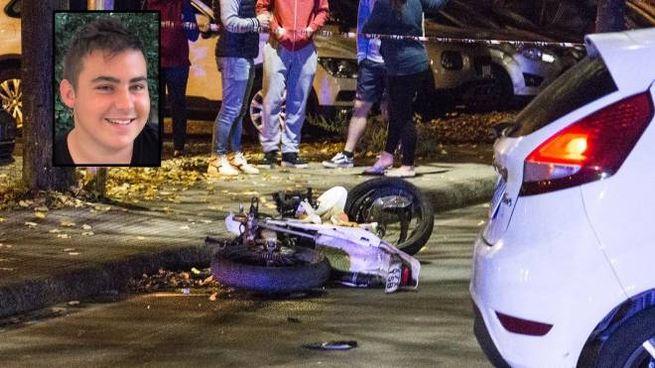 La scena dell'incidente e nel riquadro la vittima