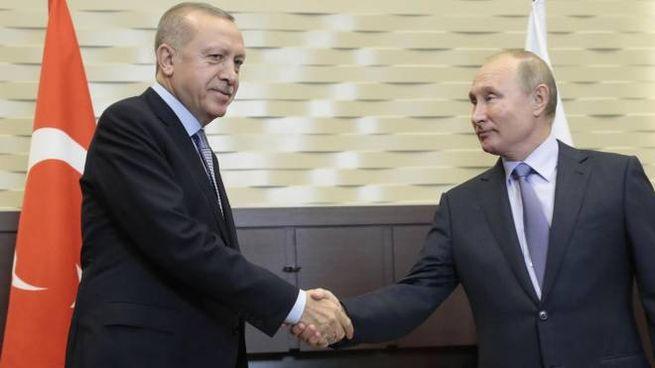 Recep Tayyip Erdogan stringe la mano a Vladimir Putin  (Anas)