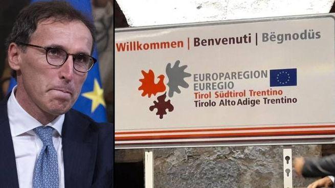 Il ministro Francesco Boccia e il cartello stradale trilingue