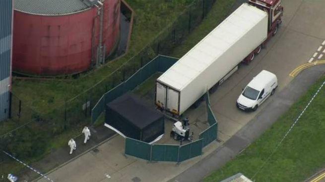 Gran Bretagna, il camion dove sono stati ritrovati i cadaveri (Ansa)