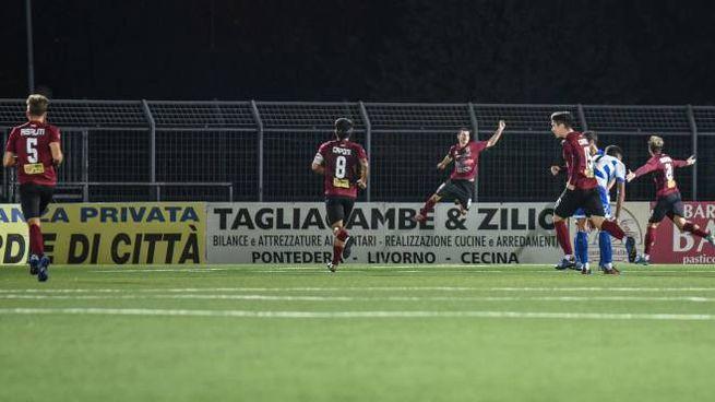 L'esultanza dopo il gol di Barba (Lotti/Fotocronache Germogli)