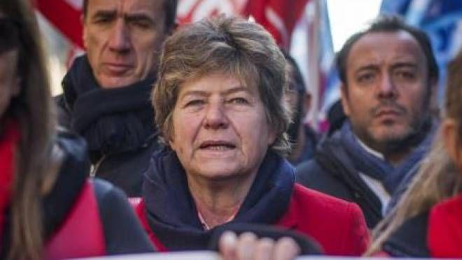 Susanna Camusso in manifestazione contro il Jobs act