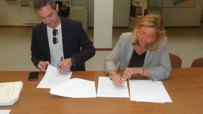 il presidente Luca Puleo con l'architetto Paola Perego