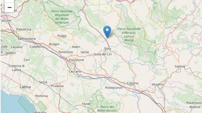 L'epicentro al confine tra le province di L'Aquila e Frosinone