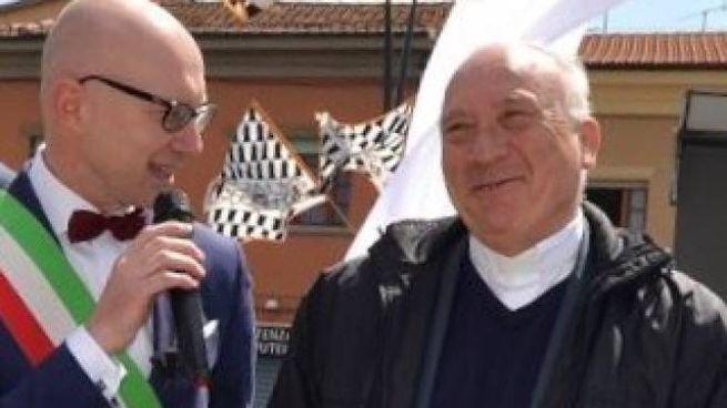 Don Cristiani, fondatore del Movimento, con il sindaco di Fucecchio, Alessio Spinelli