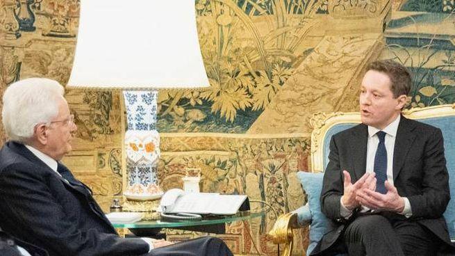 Sergio Mattarella e il presidente dell'Osservatorio Giovani editori, Andrea Ceccherini