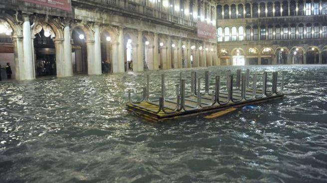 Piazza San Marco allagata (Ansa)