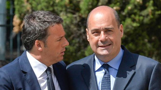 Matteo Renzi e Nicola Zingaretti (ImagoEconomica)