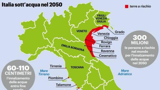 Grafico: Italia sott'acqua nel 2050