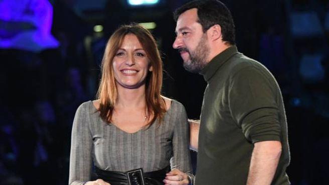 Lucia Borgonzoni e Matteo Salvini al PalaDozza di Bologna (FotoSchicchi)