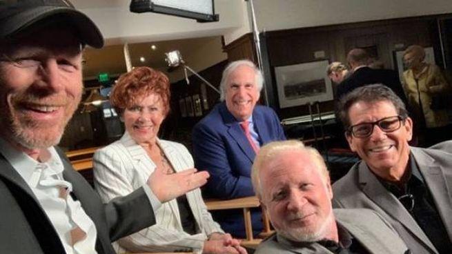 Ron Howard, Marion Ross, Henry Winkler, Fonzie, Potsie e Ralph: Anson Williams e Don Most