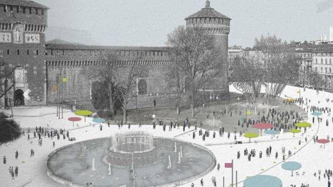 Nevicata 14 del gruppo Guidarini&Salvadeo + Snark, progetto vincitore di piazza Castello a Milano