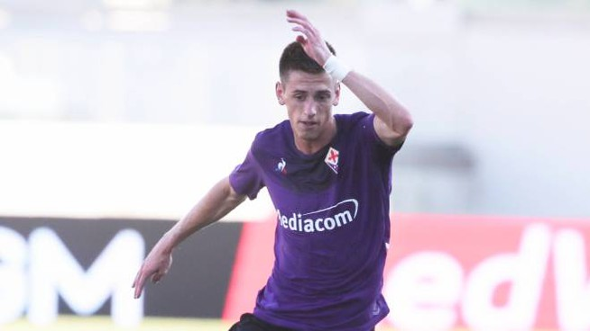 Il giovane viola Terzic in azione in Coppa Italia contro il Monza (Germogli)