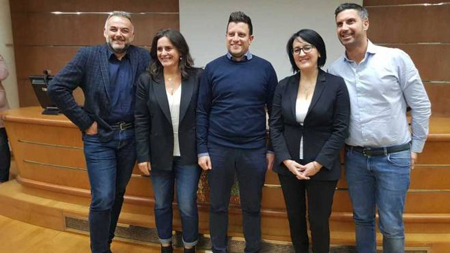 Da sinistra: Giorgio Pruccoli, Nadia Rossi, Filippo Sacchetti, Emma Petitti e Alessandro Belluzzi