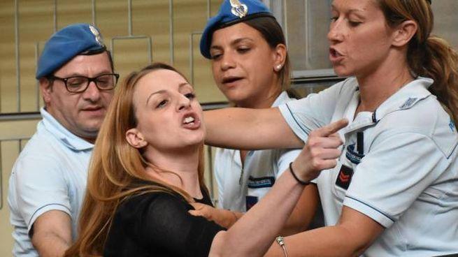 Veronica Panarello in aula al termine della lettura della sentenza d'appello (Ansa)